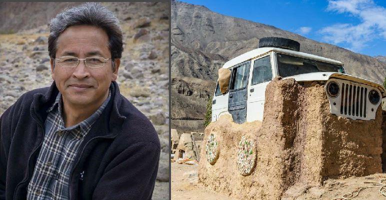 'थ्री इडियट्स'का फुंसुक वांगडुले बनाए बोलेरो गाडीको घर (फोटोफिचर)